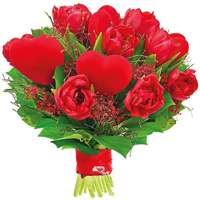Bukiet 9 tulipanów, serca na piku, zieleni obwiązany wstążką, Bukiet odważny gest, romantyczna kompozycja dla niej