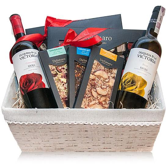 Zestaw Delimaro™ z winem, czerwone i białe wino w czekoladami i czekoladkami