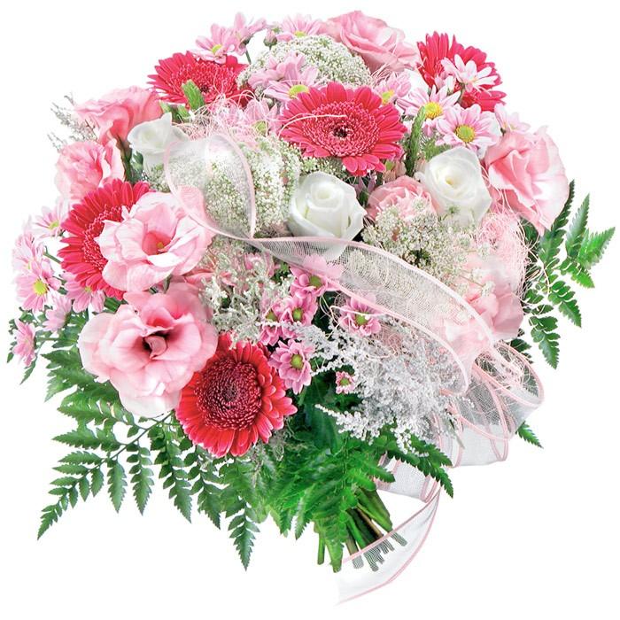 Kwiaty Tęsknię za Tobą, białe santini, różowe gerbery, białe róże, różowe eustomy połączone wstążką z dostawą, bukiet tęsknoty