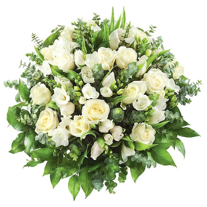 Bukiet Gratulacje dla mamy, kwiaty gratulacyjne, bukiet białych róż i frezji