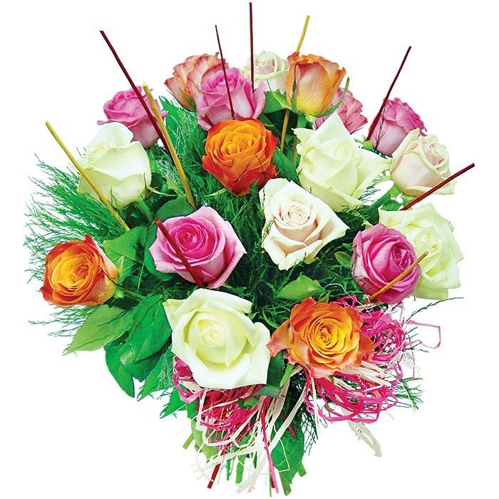 18 kolorowych róż, różany bukiet, różnokolorowe róże w bukiecie