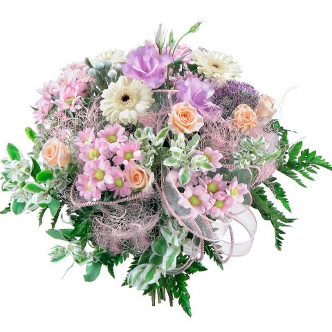 Flowers Canary Islands, flowers in a bouquet, violet trachelium, white gerberas, ribbed roses in a bouquet