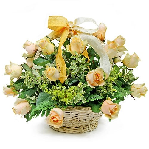 Name day basket, 23 cream roses with decorative greenery in the basket, composition of light flowers in the wicker basket