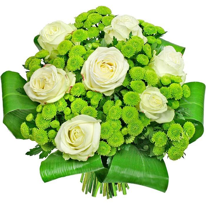 Kwiaty Dla dwojga, 7 białych róż i santini w bukiecie, biało zielony-bukiet