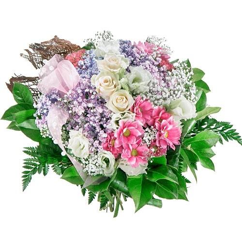 Kwiaty pastelowe, Bukiet pastelowych róż, białej eustomy i białej gipsówki