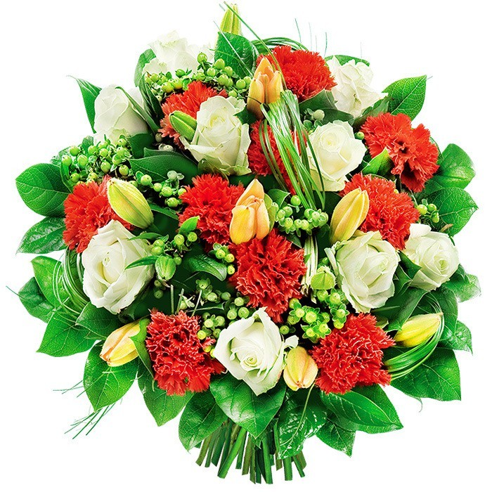 Bukiet Kolorowy, zielone goździki, lilie azjatyckie, białe róże, hyperikum w bukiecie