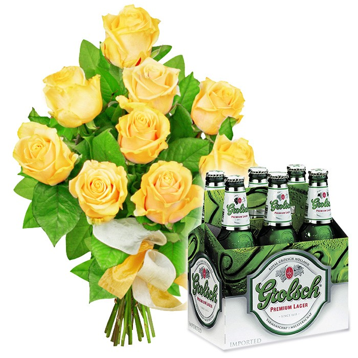 Refreshing bouquet, 9 yellow roses with six-pack beer, male flowers.