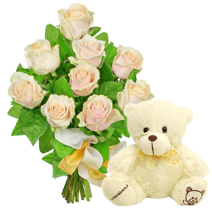 gleam flowers, bouquet of creamy roses, 9 creamy roses, plush teddy bear
