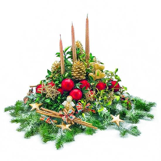 Poczta Kwiatowa® ma niespodziankę - świece i bombki w stroiku.