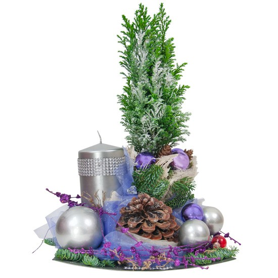 Firmament centrepiece, cypress, fir branches, cones, organza, decorative tape, bark, reed baubles, Christmas reed