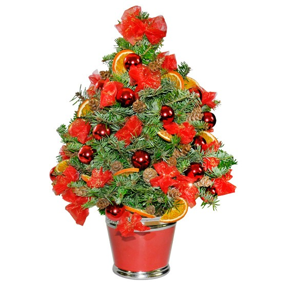 Mini Christmas tree,Christmas tree made of fir twigs, cone, dried orange, bow, casing, bauble, holiday tradition