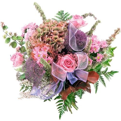 Bukiet różowych hortensji, fioletowych trachelium, róż, santini, piękne kwiaty na każdą okazję, Bukiet bajeczny