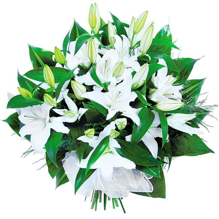Kwiaty dla nowożeńców, bukiet białych lilii i aspidistrii, kwiaty na ślub, ślubna kompozycja