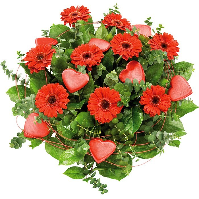 Heart bouquet, love bouquet, red gerberas with decorative green and red hearts