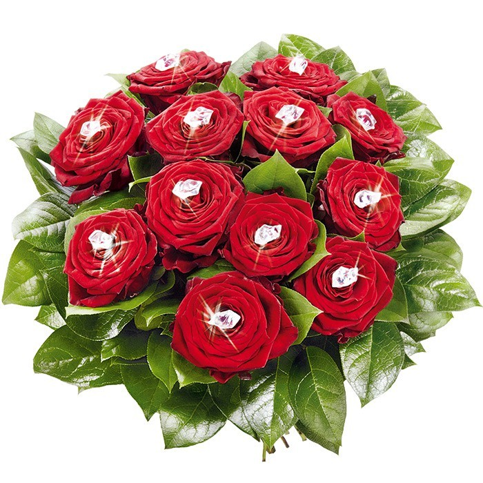 Flowers brilliance shine, 12 red roses with crystals and decorative greenery