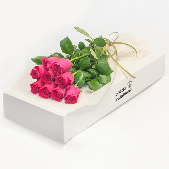 9 różowych róż w kartonie