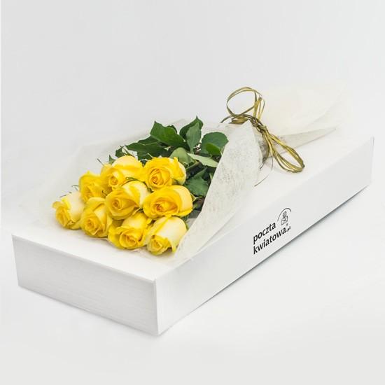 9 żółtych róż w kartonie