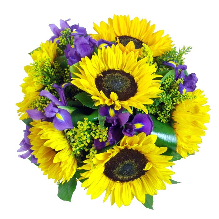 Good morning flowers, sunflowers in bouquet, irises and sunflowers with greenery.