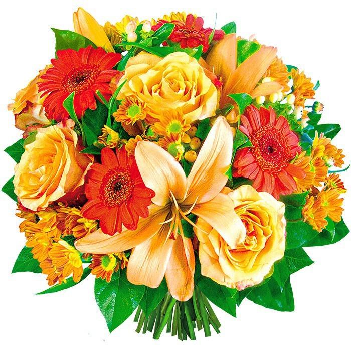 Bukiet Złocień,kompozycja żłótych róż, pomarańczowych gerber i białych lilii ze wstążką