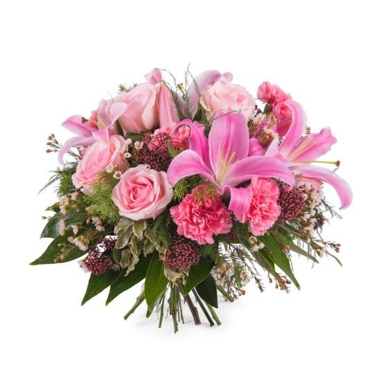 Różowy bukiet z liliami - mały