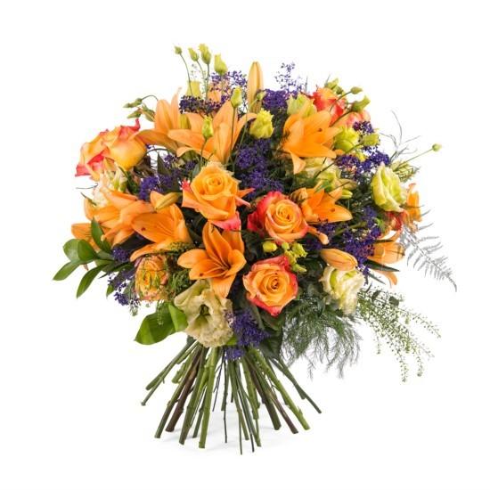 Bukiet z pomarańczowymi różami - średni