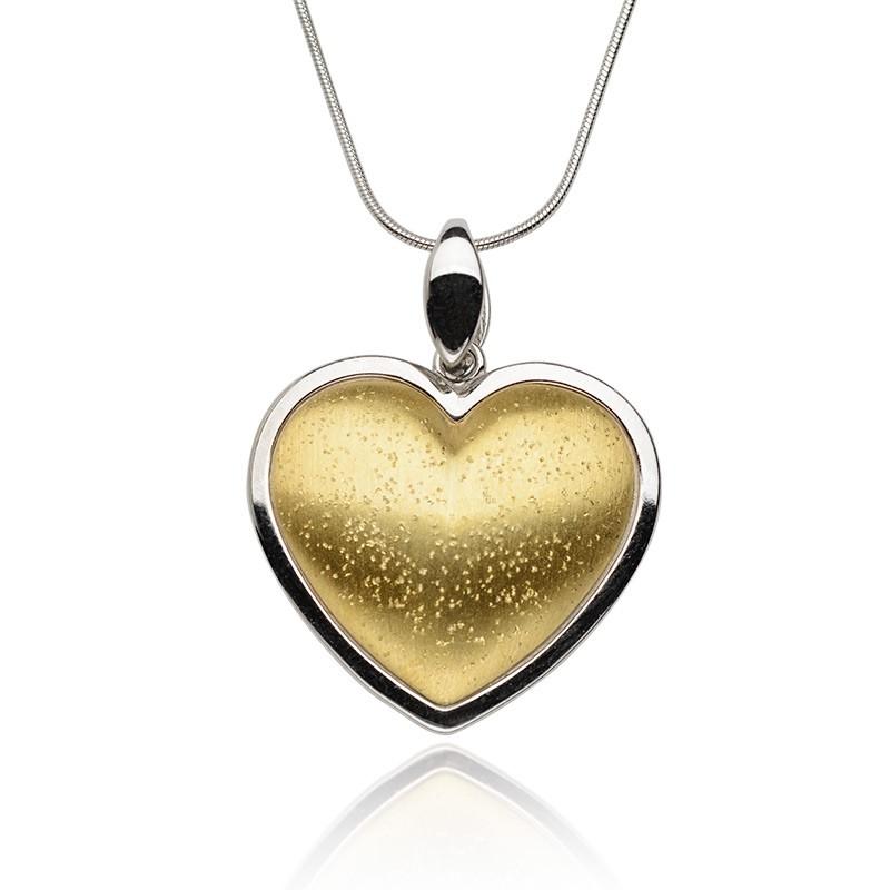 Żar serca, serce wykonane ze srebra na srebrnym łańcuszku, naszyjnik z sercem