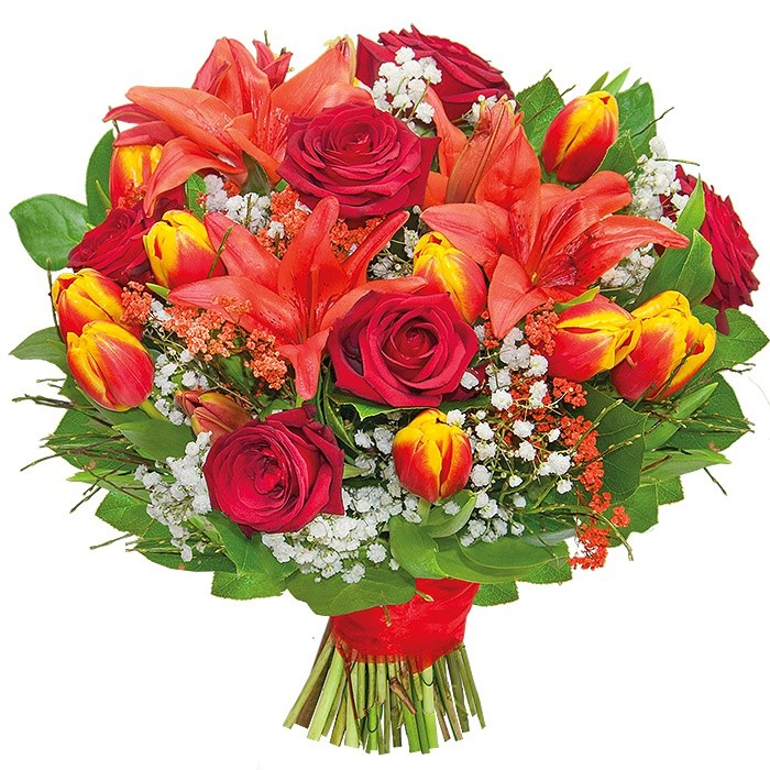 Painted bouquet, bouquet made of lily, tulips, red roses, gypsophila in two colors, decorative green,