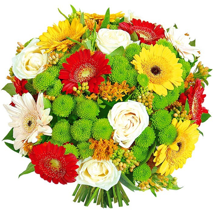 Lucky bouquet, round flower bouquet, yellow gerberas, red gerberas, santini
