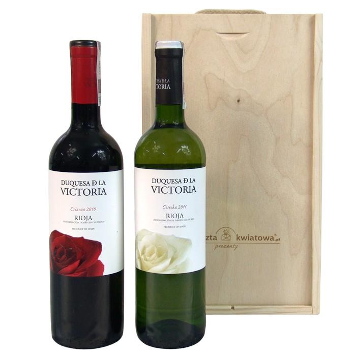 Zestaw hiszpański, hiszpańskie wino w zestawie, białe i czerwone wino w drewnianej skrzynce