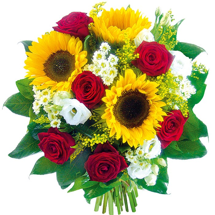 Kwiaty na lato, bukiet letnich kwiatów, słoneczniki i róże z dodatkami, eustoma w bukiecie