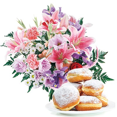 Shrove Tuesday bouquet, flowers with donut, pastel-coloured bouquet