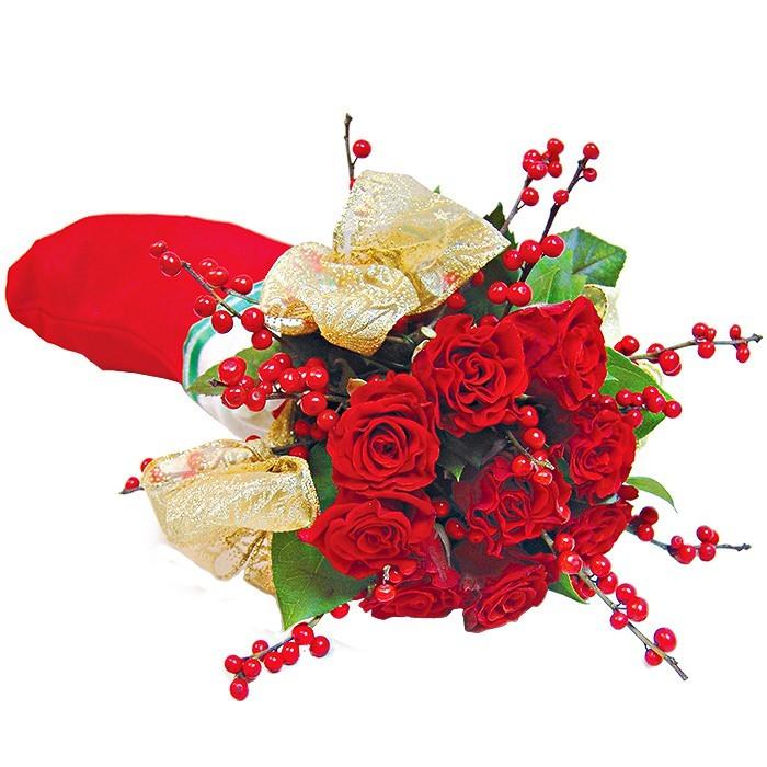 bukiet świąteczny, mikołajkowy, 9 czerwonych róż i ilex w skarpecie mikołaja