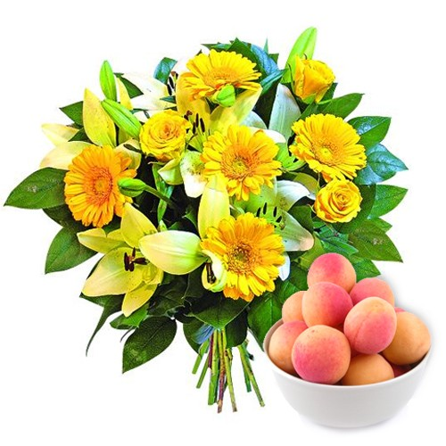 Sunny bouquet, bouquet make of yellow flower, yellow roses, lilies, kilogram of nectarines