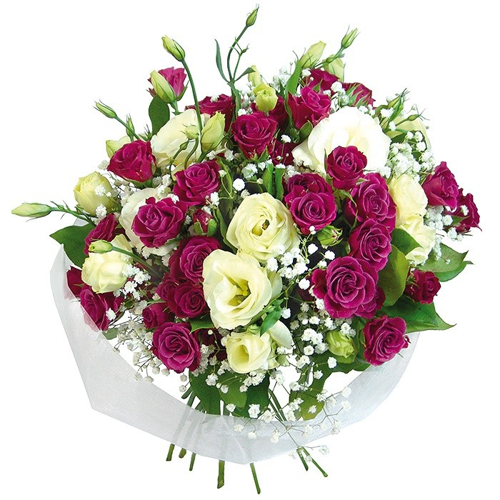 Bouquet style and chic, bouquet of white, purple, rose, eustoma, gypsophila