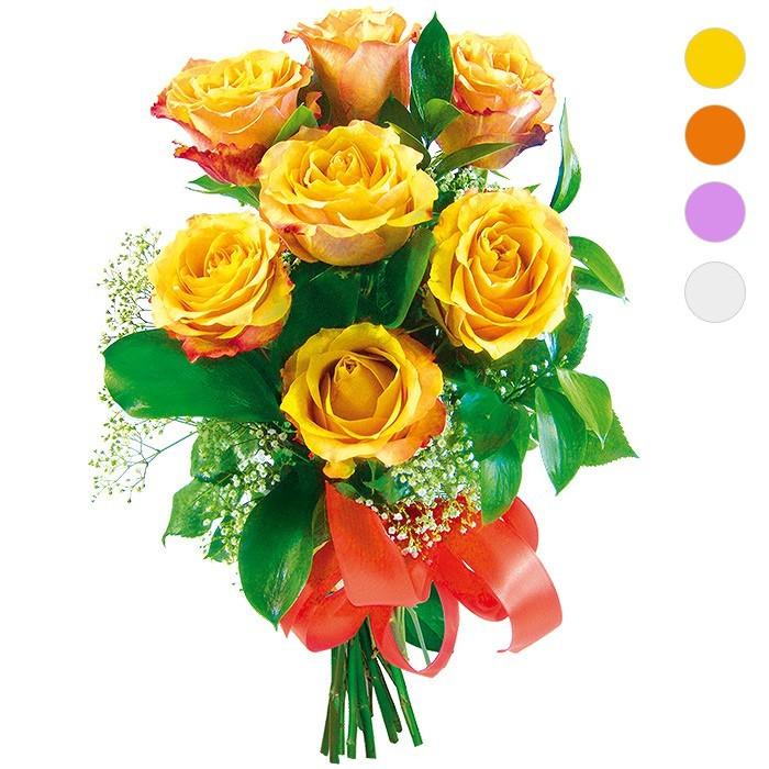 Kwiaty w bukiecie, różnokolorowe róże przewiązane wstążką, Bukiet 7 róż - wybierz kolor