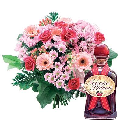 bukiet na dzień babci, bukiet różowy, mini gerbera, różowa róża, nalewka babuni