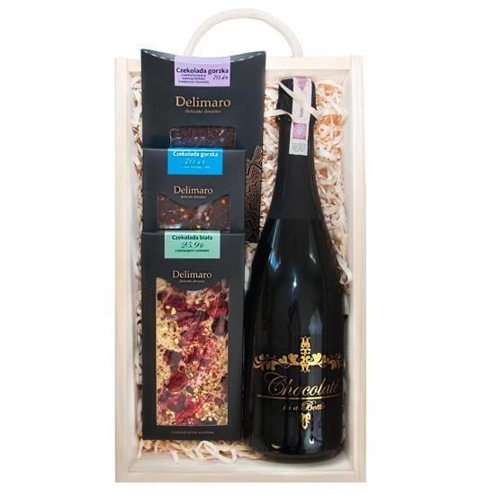 Szampańska czekolada, ręcznie robione czekolady delimaro z szampanem o czekoladowym smaku w drenianej skrzynce