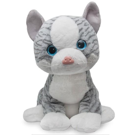 Miauczący kot Edward, maskotka pluszowa 60 cm, szara maskotka w kształcie kota