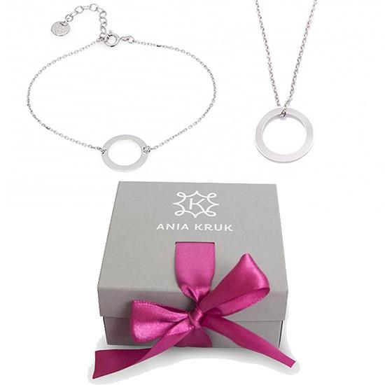 Komplet - naszyjnik i bransoletka z okręgiem (srebro) ANIA KRUK, srebrna biżuteria w szarym opakowaniu