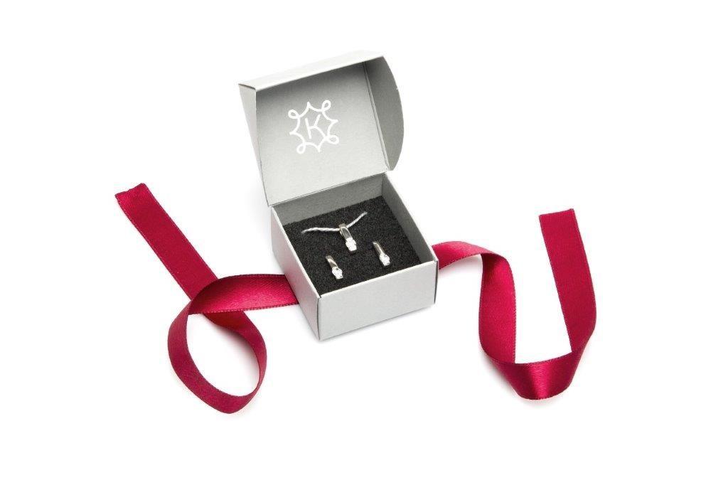 Komplet z cyrkonią ANIA KRUK, srebrne kolczyki z zawieszką, srebrna biżuteria z cyrkonią