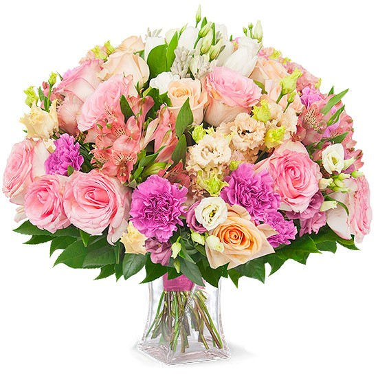 Bouquet Artemis, bouquet of pink and white flowers, tulips, eustoma, round bouquet in a glass vase