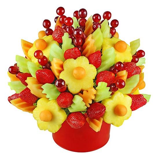 Bukiet owocowy Uśmiechnij się, bukiet owocowy z ananasa, truskawek i winogron