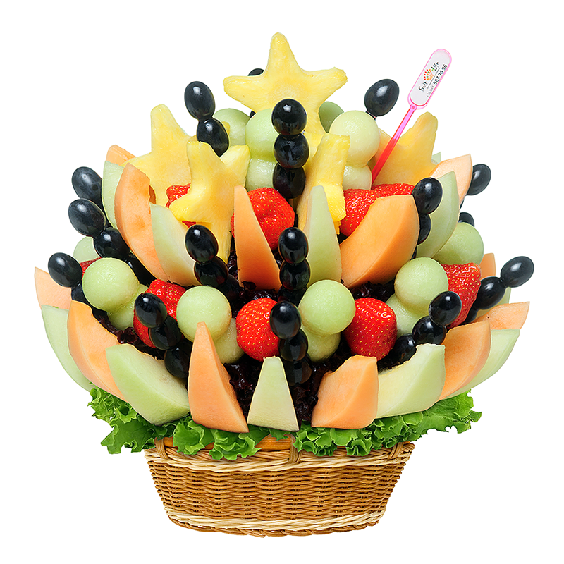Bukiet owocowy Gwiazdka z nieba, melon, ciemne winogrona, truskawki, ananas w bukiecie w wiklinowym koszu