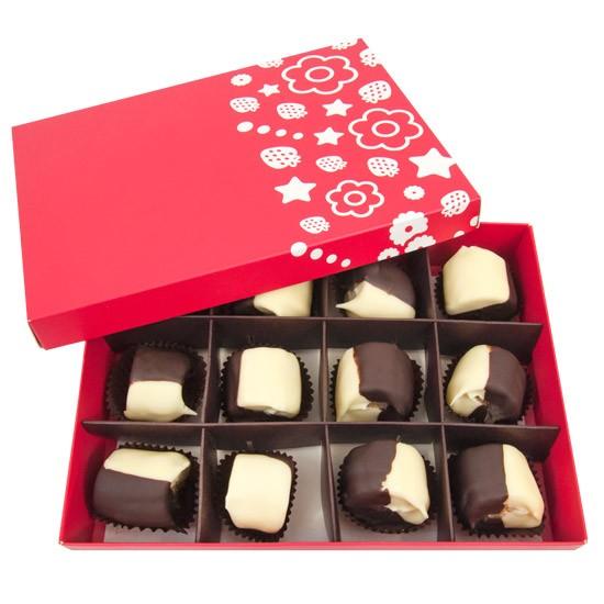 banany w czekoladzie, owoce w czekoladzie, owoce w pudełku, prezent z owocami