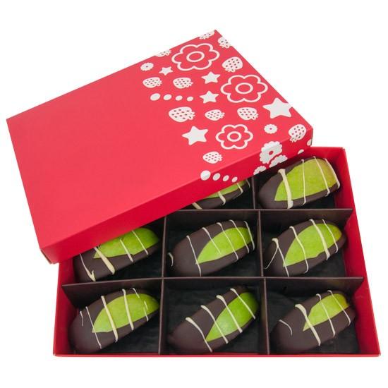 jabłka w czekoladzie, owoce w czekoladzie, owoce w pudełku, prezent z owocami