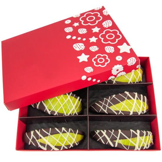 Gruszki w czekoladzie, gruszki w czarnej czekoladzie z białymi paskami