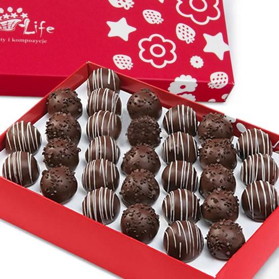 Winogrona w czekoladzie, winogrona w czarnej czekoladzie z posypką, winogrona oblane czarną i białą czekoladą