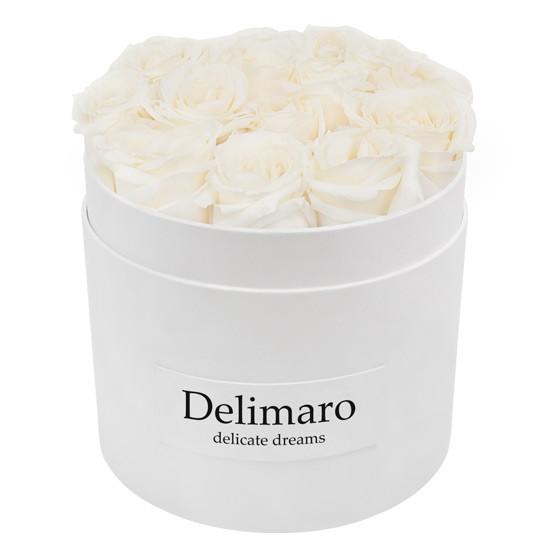 Masterbox - białe róże w białym pudełku, kwiaty w pudełku z rantem