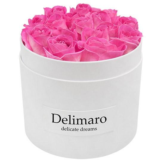 Masterbox - różowe róże w białym pudełku, białe pudełko z rantem z kwiatami