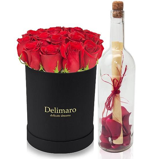 Flowerbox z listem w butelce, list z płatkami róż w butelce, czerwone róże w czarnym pudełku